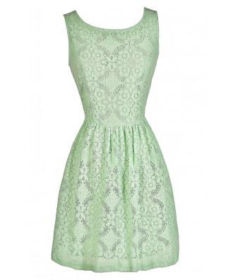 Cute Mint Dress, Mint Party Dress, Mint A-Line Dress, Mint Eyelet Dress, Mint Party Dress
