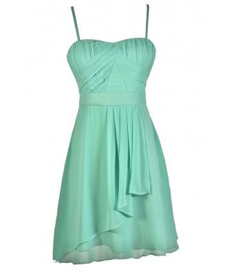 Cute Mint Dress, Mint Chiffon Dress, Mint Party Dress, Mint Bridesmaid Dress, Mint A-Line Dress, Flowy Mint Dress, Mint Summer Dress