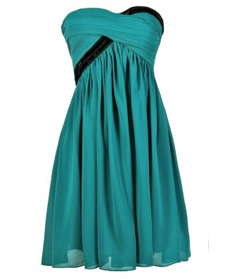 Cute Turquoise Dress, Cute Teal Dress, Teal Strapless Dress, Teal and Black Party Dress, Turquoise and Black Party Dress, Teal and Black Beaded Party Dress, Teal and Black Strapless Party Dress, Teal and Black Embellished Party Dress