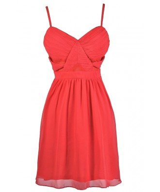Cute Coral Dress, Coral A-Line Dress, Coral Party Dress, Coral Cocktail Dress, Coral Summer Dress, Coral Chiffon Dress