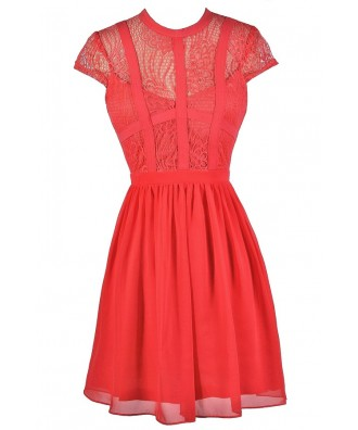 Cute Coral Dress, Coral Lace Dress, Coral A-Line Dress, Coral Party Dress