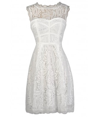 White Lace Dress, White Lace A-Line Dress, White Lace Party Dress, White Lace Rehearsal Dinner Dress, White Lace Bridal Shower Dress, White Lace Party Dress