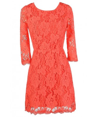 Coral Lace Dress, Cute Coral Dress, Coral Lace Open Back Dress, Coral Lace Summer Dress, Cute Summer Dress, Cute Lace Dress, Coral Lace Sheath Dress, Open Back Lace Dress