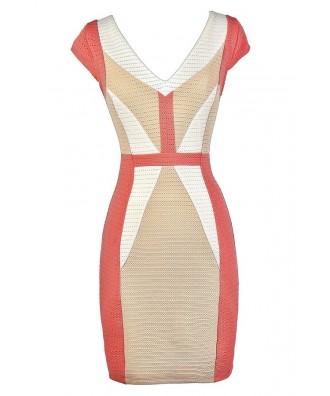 Cute Colorblock Dress, Colorblock Pencil Dress, Coral and Beige Dress, Coral and Beige Colorblock Dress, Colorblock Capsleeve Pencil Dress, Business Casual Dress