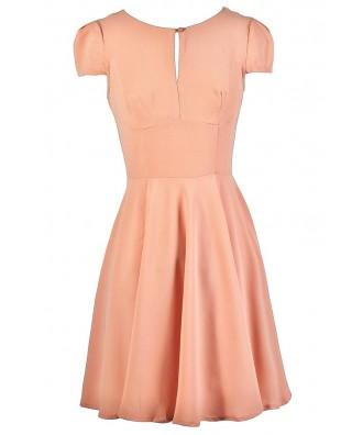 Cute Peach Dress, Peach A-Line Dress, Peach Summer Dress, Peach Capsleeve Dress, Cute Peach Dress, Cute Summer Dress