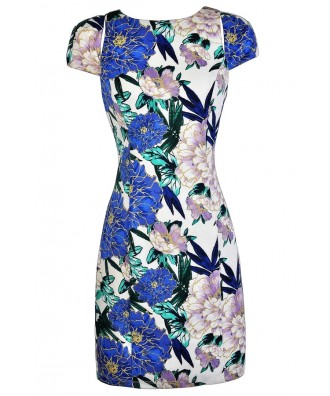 Cute Floral Print Pencil Dress, Watercolor Floral Pencil Dress, Blue and Purple Floral Dress, Floral Print Capsleeve Pencil Dress, Floral Print Summer Dress