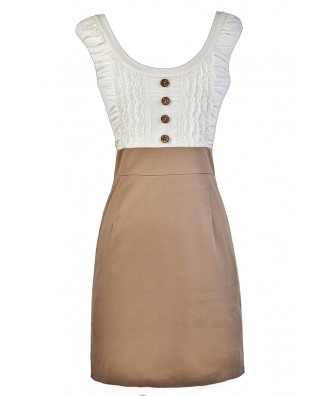 Ivory and Beige Pencil Dress, Ivory and Taupe Pencil Dress, Cute Pencil Dress, Beige Pencil Dress, Cute Work Dress, Business Casual Work Dress