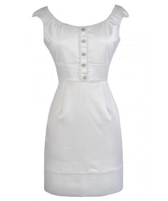 Cute Ivory Dress, Ivory Sheath Dress, Ivory Pencil Dress, Cute Work Dress, Off White Summer Dress, Cute Summer Dress