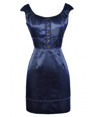 Cute Navy Dress, Navy Sheath Dress, Navy Pencil Dress, Navy Work Dress, Cute Work Dress, Fitted Navy Dress