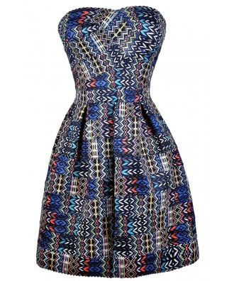 Graphic Party Dress, 80s Party Dress, Strapless Blue Party Dress, Blue Neon Party Dress, Cute Summer Dress