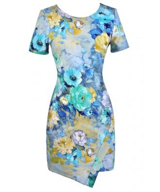 Floral Print Pencil Dress, Cute Floral Print Dress, Watercolor Floral Print Dress, Watercolor Capsleeve Floral Print Dress, Cute Summer Dress, Floral Print Party Dress