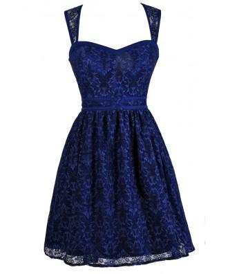 Blue Lace Dress, Royal Blue Lace Dress, Blue Lace Party Dress, Blue Lace Cocktail Dress, Blue Lace A-Line Dress, Cute Blue Dress, Bright Blue Dress