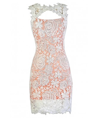Peach and Ivory Lace Dress, Peach and Ivory Lace Pencil Dress, Peach and Ivory Lace Cocktail Dress, Peach and Ivory Lace Party Dress