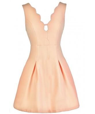 Cute Peach Dress, Peach A-Line Dress, Peach Summer Dress, Cute Summer Dress, Peach Party Dress, Peach Scalloped Dress