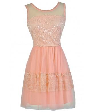 Cute Pink Dress, Pink Party Dress, Pink A-Line Dress, Pink Tulle and Lace Dress, Pink Tulle Dress
