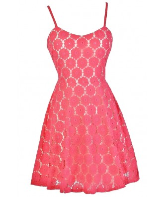 Pink Lace A-Line Dress, Pink Lace Party Dress, Pink Lace Summer Dress, Cute Summer Dress, Pink Lace Cocktail Dress