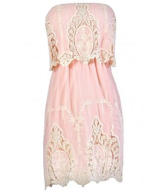 Pink Lace Dress, Cute Summer Dress, Pink Summer Dress, Pink Strapless Lace Dress, Pink Boho Lace Dress, Pink Bohemian Lace Dress