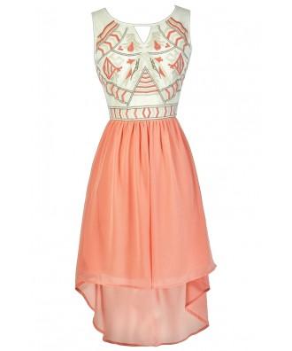Peach Embroidered Dress, Peach High Low Dress, Peach Party Dress, Peach Summer Dress, Cute Peach Dress, Coral Party Dress, Coral Summer Dress, Coral High Low Dress