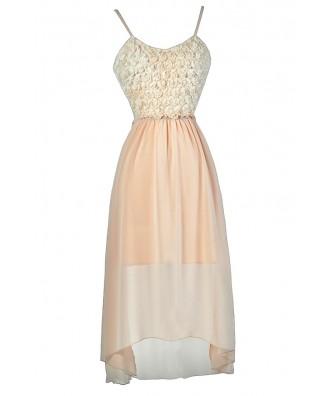 Pale Pink High Low Dress, Blush Pink High Low Dress, Rosette Pink Dress, Cute Pink Party Dress, Pink Rosette Chiffon Dress