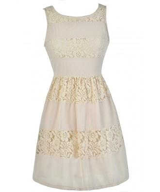 Cute Beige Dress, Beige Lace Dress, Beige A-Line Dress, Beige Party Dress, Beige Summer Dress