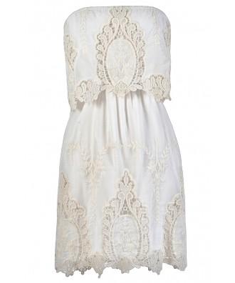 White Crochet Lace Dress, White Lace Summer Dress, White Strapless Lace Dress, White Boho Summer Dress