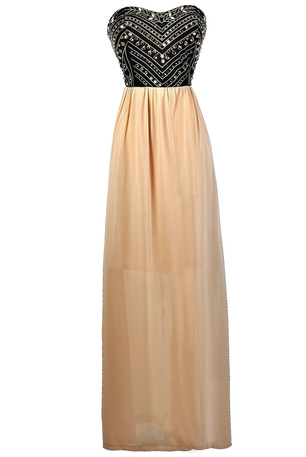 Rare Gemstones Embellished Maxi Dress in Beige