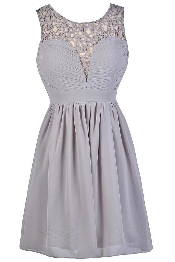 Grey A-Line Dress, Cute Gray Dress, Gray Party Dress, Gray Crochet ...
