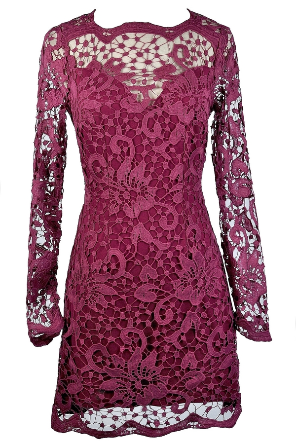 Ginger Fizz Mulberry Moment Longsleeve Lace Dress