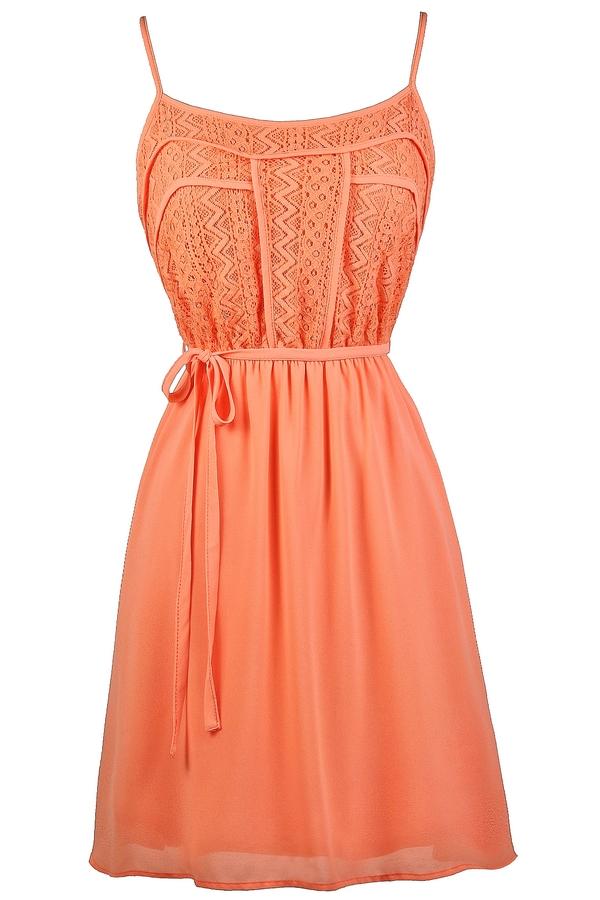 Orange Coral Lace Dress, Cute Summer Dress, Cute Coral Dress, Cute ...