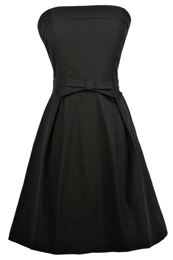 Black dress with white bow on front