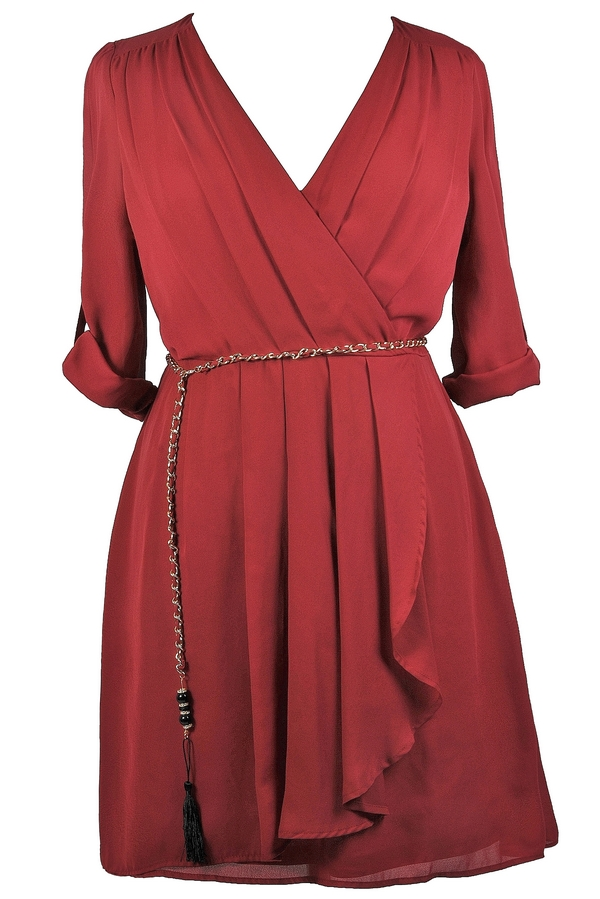 Burgundy Red Plus Size Wrap Dress Cute Plus Size Dress Red Plus