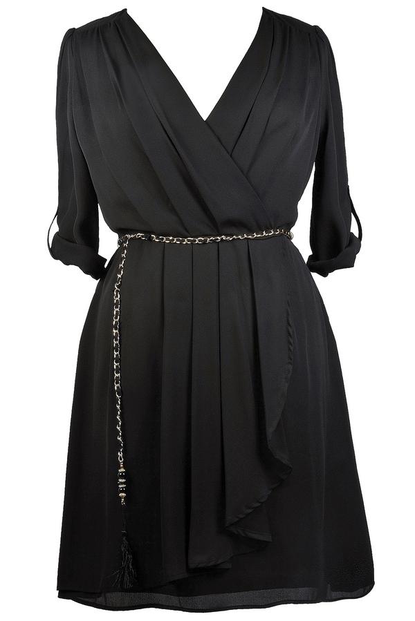 Black Chiffon Wrap Dress