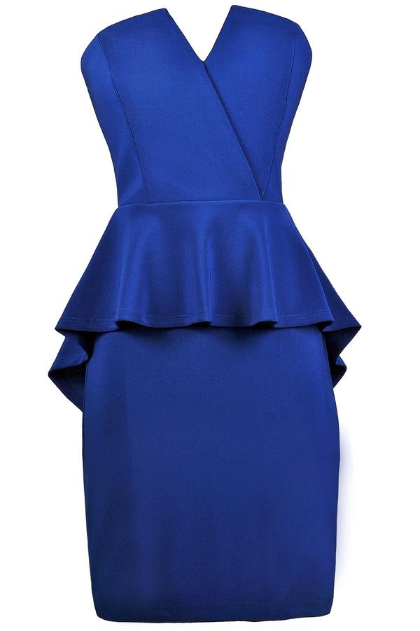 Royal Blue Peplum Dress, Strapless Peplum Dress, Royal Blue ...