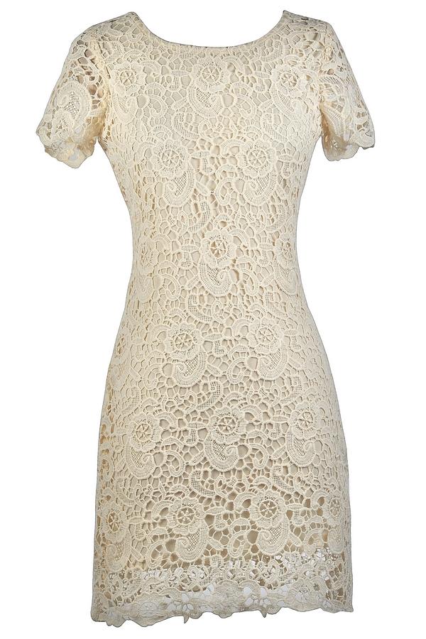 Lily Boutique Beige Crochet Lace Dress, Cute Beige Dress, Beige ...