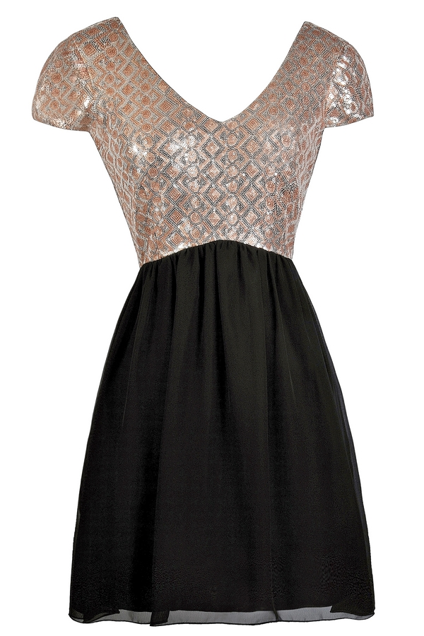Lily Boutique Black and Gold Party Dress- Cute Cocktail Dress ...