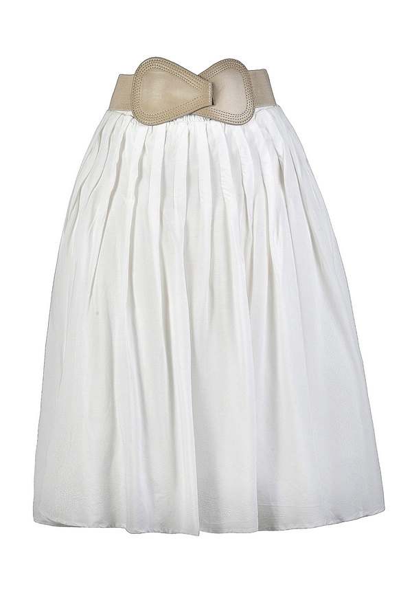 White A-Line Belted Skirt, Cute White Skirt, White Summer Skirt ...