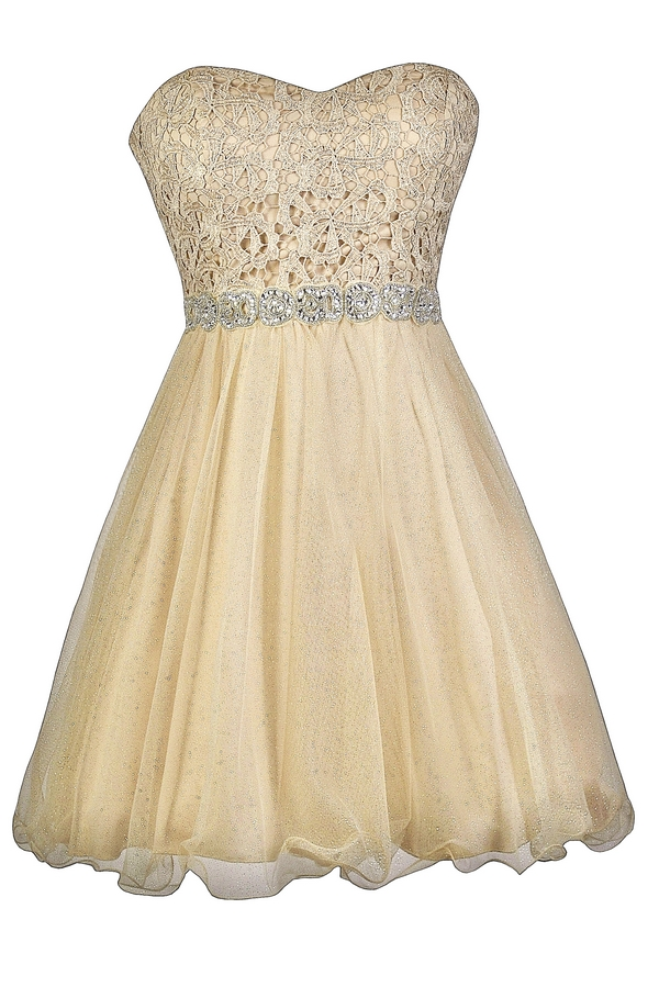Pale Gold Dress, Gold Lace and Tulle Dress, Gold Party Dress, Cute ...