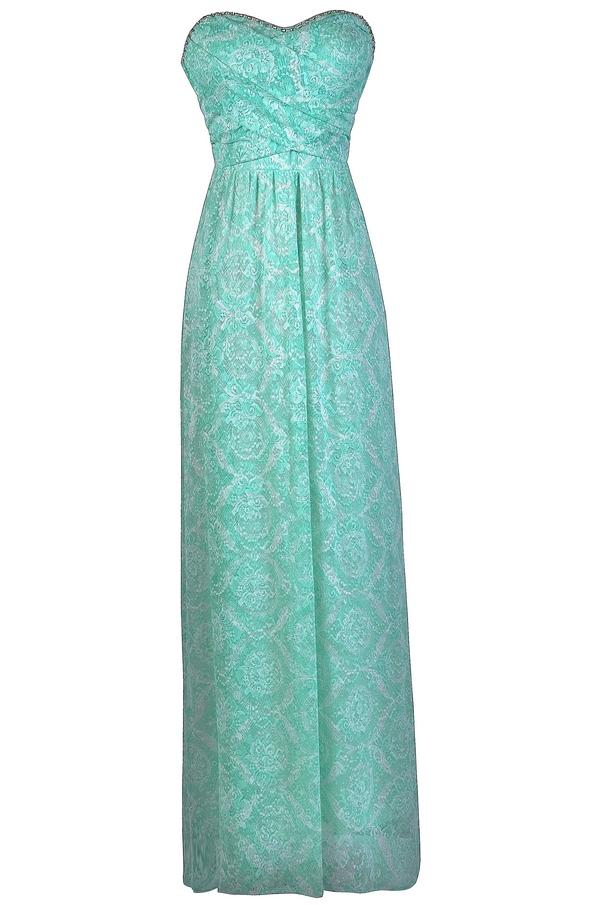 Seafoam Green Maxi Dress Bridesmaid Mint Lily Boutique
