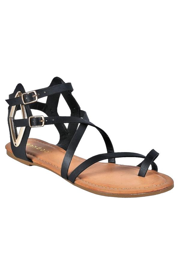 2f266eb5eb33 Black Short Gladiator Sandals