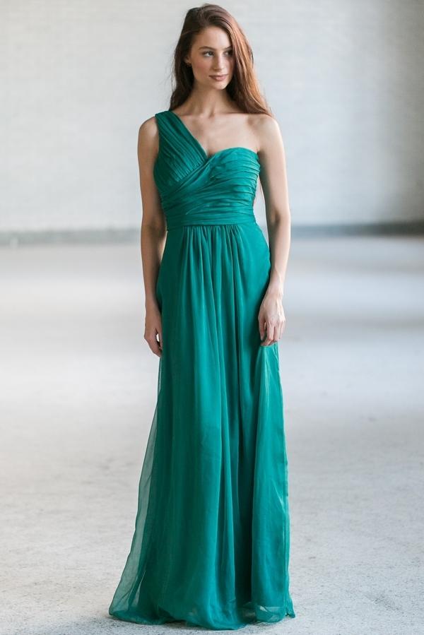 7dc085a81d3 Emerald Green Bridesmaid Dress | Green Maxi Dress | One Shoulder Forest  Green Maxi | Lily Boutique