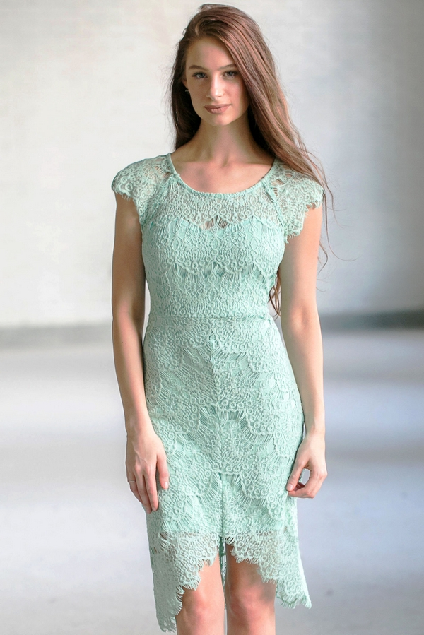 Light Sage Lace High Low Sheath Dress Cute Green Boutique Online Lily