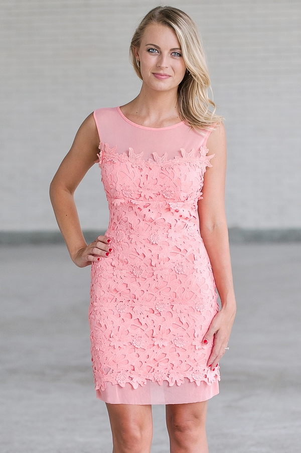 8178003d6c26 Pink Crochet Lace Sheath Dress