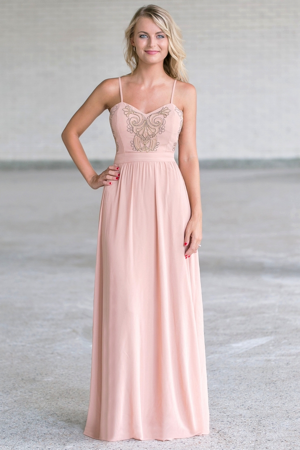 Blush Pink and Gold Maxi Dress, Cute Formal Maxi Dress Lily Boutique