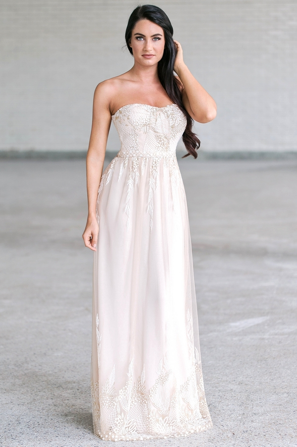Champagne Prom Dress, Formal Maxi Dress, Ivory and Gold Dress Lily ...