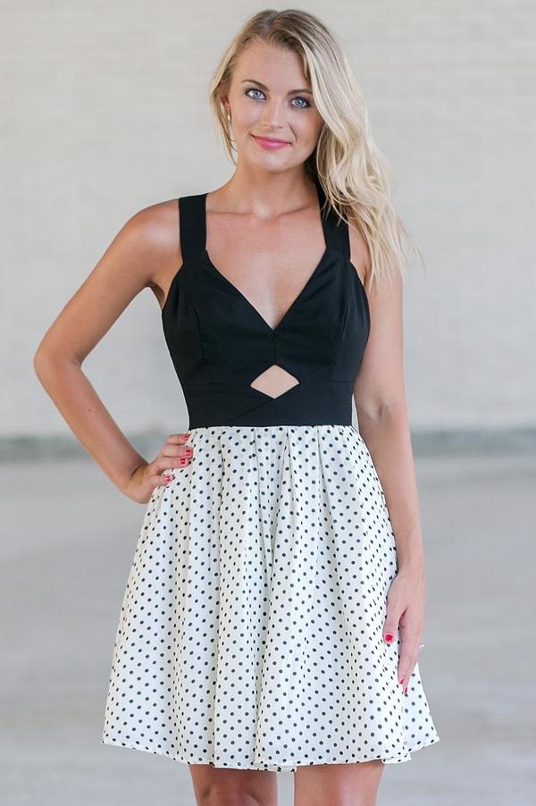 a69b2111ed4 Black and White Polka Dot Dress