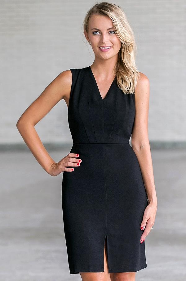 Black Sheath Dress, Cute Black Work Dress, Black Cocktail Dress Lily ...