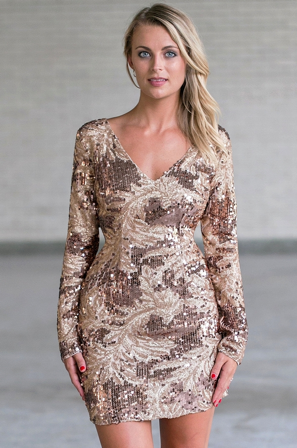 dfb7ceada7bd7 New Year Glam Sleeved Sequin Dress in Bronze/Gold