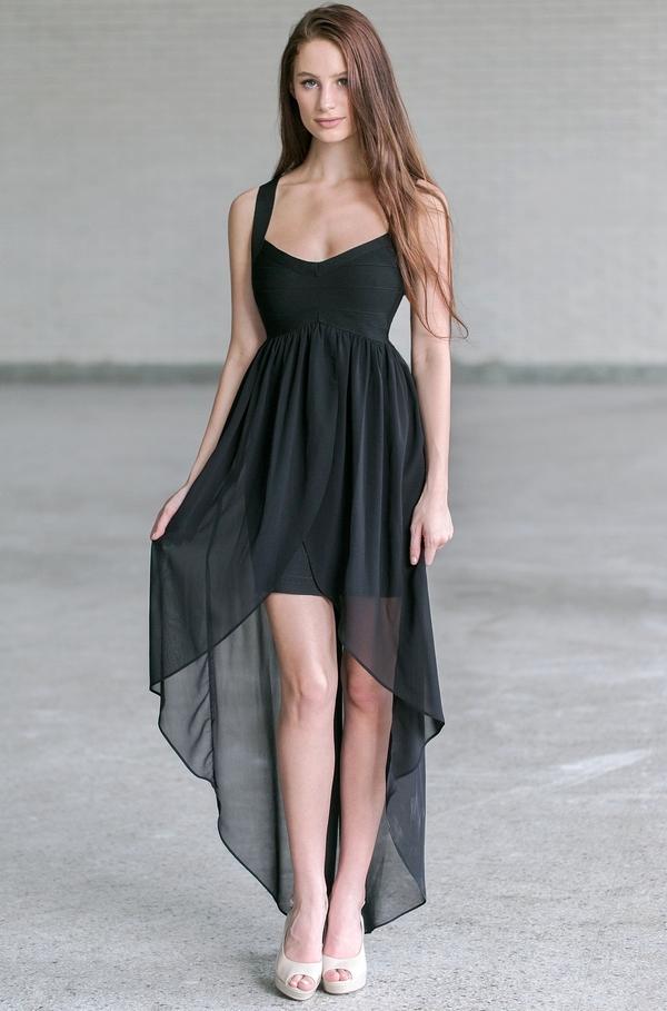Black High Low Bandage Dress, Cute Little Black Dress, Black Party ...