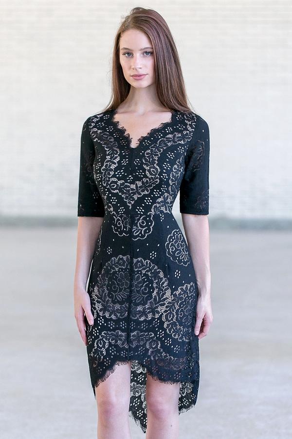 Black Lace High Low Sheath Dress, Cute Black Cocktail Dress Lily ...