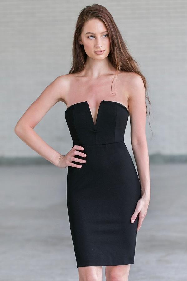 black strapless dress